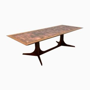 Table Basse Mid-Century en Palissandre et Cuivre, Danemark, 1960s