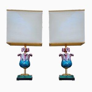 Lámparas de mesa con flores de porcelana de Mangani Giulia, años 70. Juego de 2