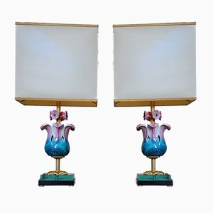Porcelain Flower Table Lamps by Mangani Giulia, 1970s, Set of 2