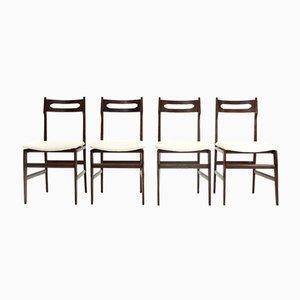 Italienische Mid-Century Esszimmerstühle mit weißem Samtsitz & Holzgestell, 1950er, 4er Set