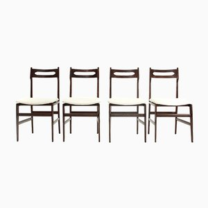 Mid-Century Italian White Velvet & Wood Dining Chairs, 1950s, Set of 4
