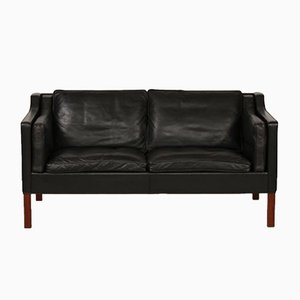 Mid-Century Danish 2212 Black Leather Sofa by Børge Mogensen for Fredericia, 1975