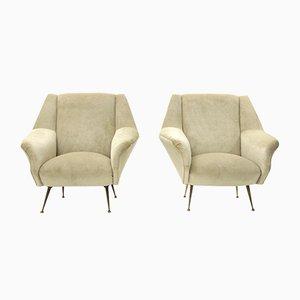 Mid-Century Italian White-Cream Velvet Armchairs, Set of 2