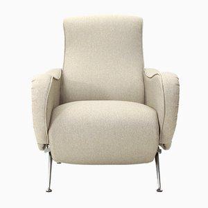 Italienischer Mid-Century Sessel mit hanffarbenem Bezug, 1970er