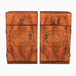 Art Deco Walnut Bedside Cabinets, 1930s, Set of 2