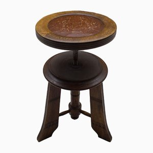 Antique Wooden Piano Stool, 1900s