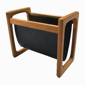 Vintage Scandinavian Teak and Leather Magazine Rack, 1970s