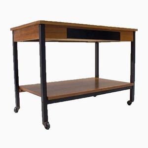 Vintage Rolltisch aus Nussholz, 1960er