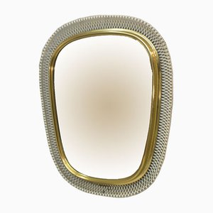 Mid-Century White & Golden Metal Wall Mirror, 1950s