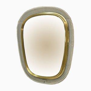 Specchio da parete Mid-Century in metallo bianco e oro, anni '50