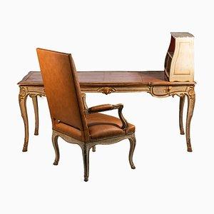 Juego de escritorio y butaca francés de Maison Jansen, años 60. Juego de 2