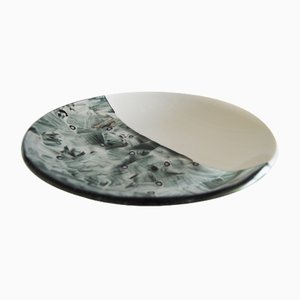 Baccan T30 Ivory Murano Glass Plate by Stefano Birello for VeVe Glass
