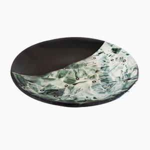 Assiette Baccan T30 en Verre de Murano Noir par Stefano Birello pour VeVe Glass