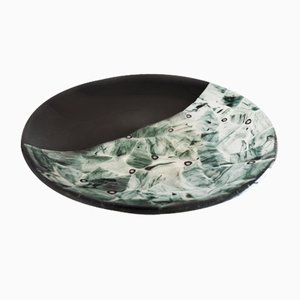 Baccan T30 Black Murano Glass Plate by Stefano Birello for VeVe Glass