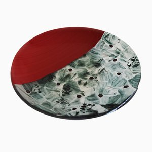 Baccan T30 Red Murano Glass Plate by Stefano Birello for VeVe Glass