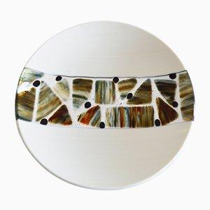 Elfenbeinfarbener Pope T30 Teller aus Muranoglas von Stefano Birello für VéVé Glass