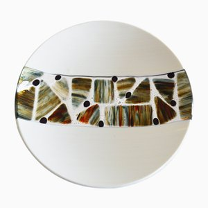 Pope T30 Ivory Murano Glass Plate by Stefano Birello for VeVe Glass