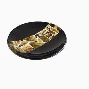 Assiette Pope T30 en Verre de Murano Noir par Stefano Birello pour VeVe Glass