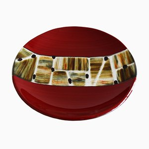 Pope T30 Red Murano Glass Plate by Stefano Birello for VeVe Glass