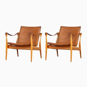 Safari Lounge Chairs by Karen & Ebbe Clemmensen for Fritz Hansen, 1960s, Set of 2