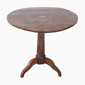 Antique Round Walnut Inlay Center Table, 1880s
