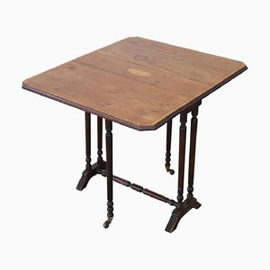 Antique Inlaid Wood Folding and Serving Table, 1880s