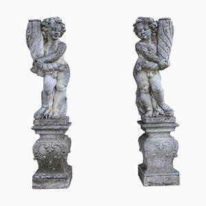 Estatuas de jardín neoclásicas, años 20. Juego de 2