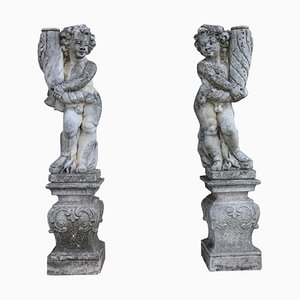 Statues Lampes de Jardin Néoclassiques, 1920s, Set de 2