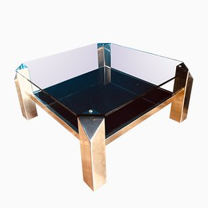 Table Basse en Plaqué Or 23 Carats de Belgo Chrom / Dewulf Selection, 1970s