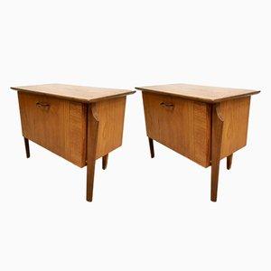 Tables de Chevet Vintage par Louis van Teeffelen pour WéBé, Pays-Bas, 1950s, Set de 2