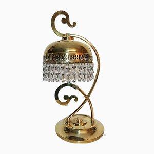 Lámpara de mesa de latón dorado y vidrio, años 70