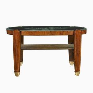 Table Vintage en Noyer, Verre et Laiton, 1960s