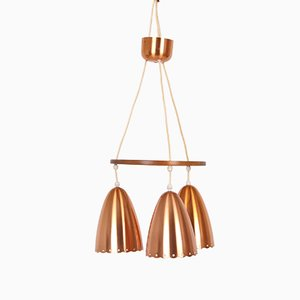 Danish Copper Pendant Lamp, 1950s