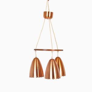 Lámpara colgante danesa de cobre, años 50
