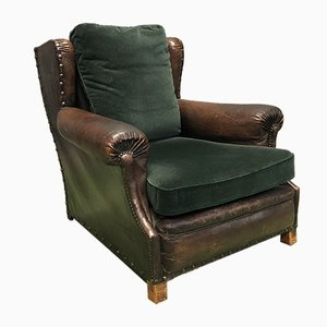 Leather and Fabric Lounge Chair, 1920s