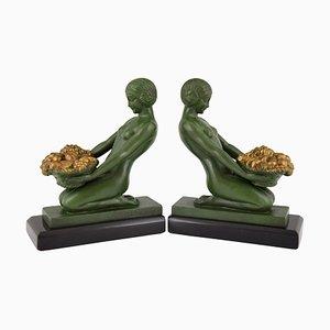 Vintage Art Déco Skulpturen von Max Le Verrier für Max Le Verrier, 1930er, 2er Set