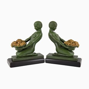 Vintage Art Deco Style Scultures by Max Le Verrier for Max Le Verrier, 1930s, Set of 2