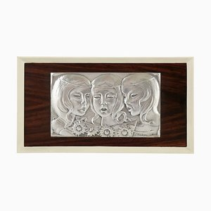 Vintage Singing Girls Sterling Silver Wall Panel from Ottaviani, 1960s