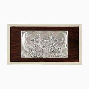 Vintage Singing Girls Wandtafel aus Silber von Ottaviani, 1960er