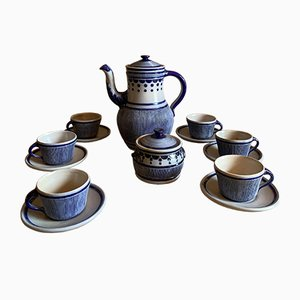 Blue and White Coffee Set by Jork Kalle for Gres de la Roche, 1980s
