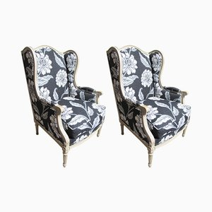 Antique French Bergere Armchairs, 1890s, Set of 2