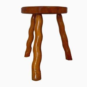 Taburete trípode de madera, años 60