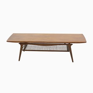 Large Danish Teak and Rattan Coffee Table, 1960s