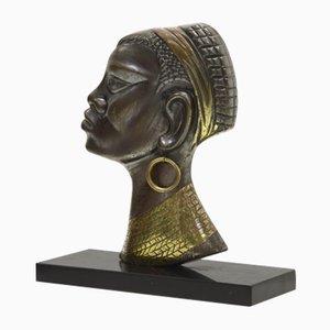 Escultura de mujer africana Mid-Century de latón y bronce, años 50