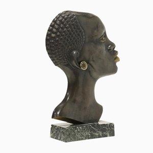 Mid-Century Skulptur einer Afrikanerin aus Bronze & Messing, 1950er