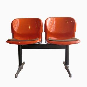 Flughafen-Sitzbank aus Kunststoff & Stahl, 1970er, 2er Set