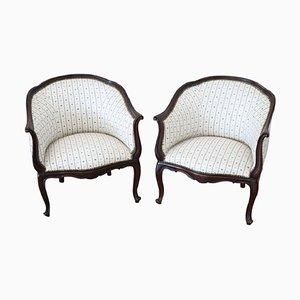 Antike Sessel mit Gestell aus Nussholz, 1880er, 2er Set