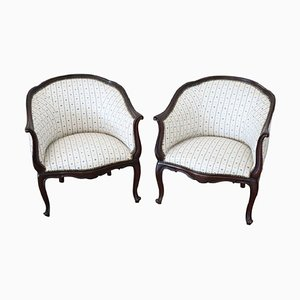 Antique Walnut Armchairs, 1880s, Set of 2