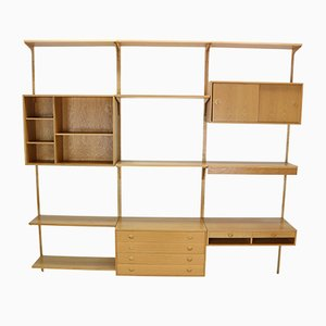 Danish Oak Wall Unit by Rud Thygesen & Johnny Soren for H.G. Furniture, 1960s