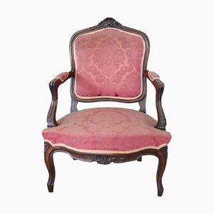 Antiker Sessel aus geschnitztem Nussholz, 1880er